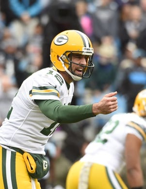 Nov 8, 2015; Charlotte, NC, USA; Green Bay Packers quarterback Aaron Rodgers (12) on the field in the first quarter at Bank of America Stadium. Mandatory Credit: Bob Donnan-USA TODAY Sports