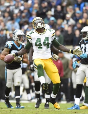 Nov 8, 2015; Charlotte, NC, USA; Green Bay Packers running back James Starks (44) reacts in the first quarter at Bank of America Stadium. Mandatory Credit: Bob Donnan-USA TODAY Sports