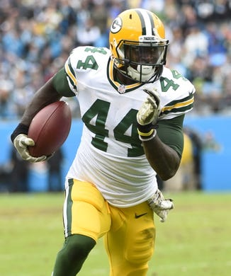 Nov 8, 2015; Charlotte, NC, USA; Green Bay Packers running back James Starks (44) runs in the first quarter at Bank of America Stadium. Mandatory Credit: Bob Donnan-USA TODAY Sports