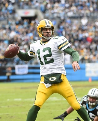 Nov 8, 2015; Charlotte, NC, USA; Green Bay Packers quarterback Aaron Rodgers (12) looks to pass in the first quarter at Bank of America Stadium. Mandatory Credit: Bob Donnan-USA TODAY Sports