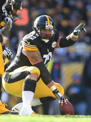 Nov 8, 2015; Pittsburgh, PA, USA; Pittsburgh Steelers center Cody Wallace (72) gestures at the line of scrimmage against the Pittsburgh Steelers during the second quarter at Heinz Field. The Steelers won 38-35. Mandatory Credit: Charles LeClaire-USA TODAY Sports