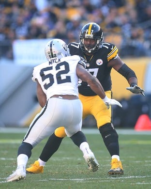 Nov 8, 2015; Pittsburgh, PA, USA; Pittsburgh Steelers tackle Marcus Gilbert (77) blocks at the line of scrimmage against Oakland Raiders defensive end Khalil Mack (52) during the second quarter at Heinz Field. The Steelers won 38-35. Mandatory Credit: Charles LeClaire-USA TODAY Sports