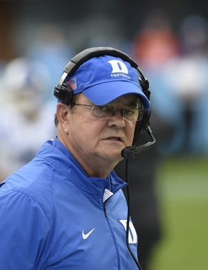 Nov 7, 2015; Chapel Hill, NC, USA; Duke Blue Devils head coach David Cutcliffe on the sidelines in the first quarter. The Tar Heels defeated the Blue Devils 66-31 at Kenan Memorial Stadium. Mandatory Credit: Bob Donnan-USA TODAY Sports
