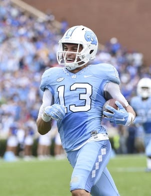 Nov 7, 2015; Chapel Hill, NC, USA; North Carolina Tar Heels wide receiver Mack Hollins (13) scores a touchdown  in the second quarter at Kenan Memorial Stadium. Mandatory Credit: Bob Donnan-USA TODAY Sports