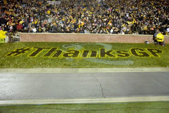 Nov 21, 2015; Columbia, MO, USA; Missouri Tigers head coach Gary Pinkel fans display the Twitter hashtag in support during the first half against the Tennessee Volunteers at Faurot Field. Mandatory Credit: Denny Medley-USA TODAY Sports