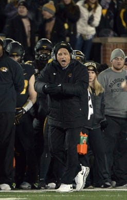 Nov 21, 2015; Columbia, MO, USA; Missouri Tigers head coach Gary Pinkel reacts to a call during the first half against the Tennessee Volunteers at Faurot Field. Mandatory Credit: Denny Medley-USA TODAY Sports