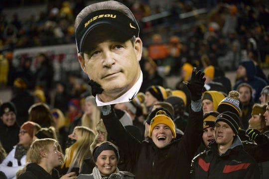 Nov 21, 2015; Columbia, MO, USA; A Missouri Tigers fans shows his support for head coach Gary Pinkel during the second half against the Tennessee Volunteers at Faurot Field. Tennessee won the game 19-8. Mandatory Credit: Denny Medley-USA TODAY Sports