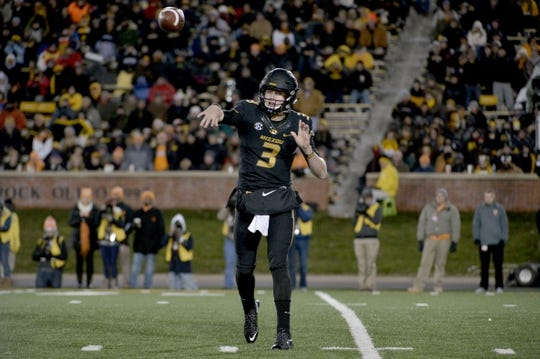 Nov 21, 2015; Columbia, MO, USA; Missouri Tigers quarterback Drew Lock (3) throws a pass during the second half against the Tennessee Volunteers at Faurot Field. Tennessee won the game 19-8. Mandatory Credit: Denny Medley-USA TODAY Sports