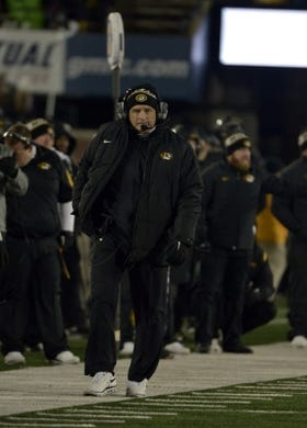 Nov 21, 2015; Columbia, MO, USA; Missouri Tigers head coach Gary Pinkel watches play on the sidelines during the second half against the Tennessee Volunteers at Faurot Field. Tennessee won the game 19-8. Mandatory Credit: Denny Medley-USA TODAY Sports