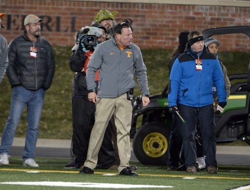 Nov 21, 2015; Columbia, MO, USA; Tennessee Volunteers head coach Butch Jones watches play on the sidelines during the second half against the Missouri Tigers at Faurot Field. Tennessee won the game 19-8. Mandatory Credit: Denny Medley-USA TODAY Sports