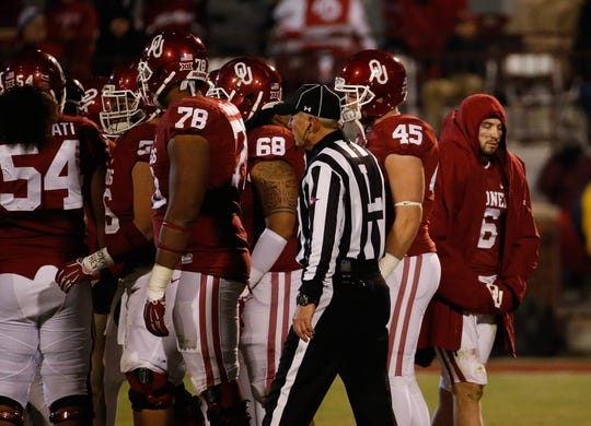 Nov 21, 2015; Norman, OK, USA; Oklahoma Sooners quarterback Baker Mayfield (6) without his helmet during the second half against the TCU Horned Frogs at Gaylord Family - Oklahoma Memorial Stadium. Mandatory Credit: Kevin Jairaj-USA TODAY Sports