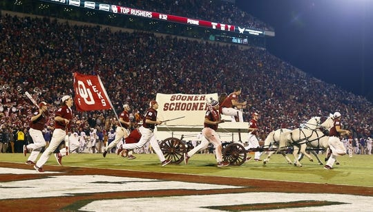 Nov 21, 2015; Norman, OK, USA; Oklahoma Sooners sooner schooner during the game against the TCU Horned Frogs at Gaylord Family - Oklahoma Memorial Stadium. Mandatory Credit: Kevin Jairaj-USA TODAY Sports
