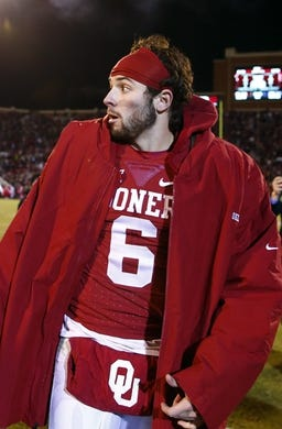 Nov 21, 2015; Norman, OK, USA; Oklahoma Sooners quarterback Baker Mayfield (6) reacts after the game against the TCU Horned Frogs at Gaylord Family - Oklahoma Memorial Stadium. Mandatory Credit: Kevin Jairaj-USA TODAY Sports