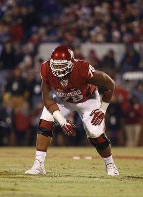 Nov 21, 2015; Norman, OK, USA; Oklahoma Sooners offensive tackle Orlando Brown (78) during the game against the TCU Horned Frogs at Gaylord Family - Oklahoma Memorial Stadium. Mandatory Credit: Kevin Jairaj-USA TODAY Sports