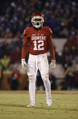 Nov 21, 2015; Norman, OK, USA; Oklahoma Sooners cornerback William Johnson (12) during the game against the TCU Horned Frogs at Gaylord Family - Oklahoma Memorial Stadium. Mandatory Credit: Kevin Jairaj-USA TODAY Sports