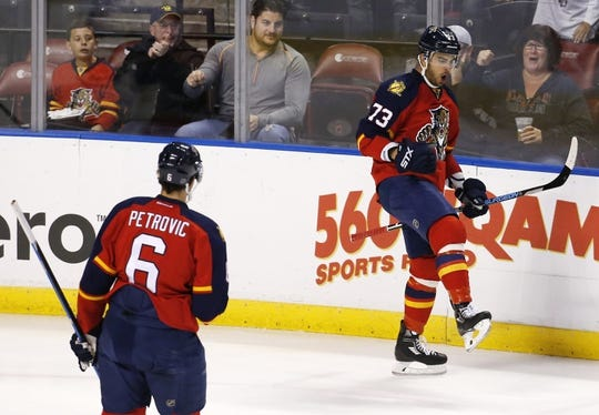 Nov 27, 2015; Sunrise, FL, USA; Florida Panthers center Brandon Pirri (73) celebrates after scoring a goal in the first period against the New York Islanders at BB&T Center. Mandatory Credit: Robert Mayer-USA TODAY Sports