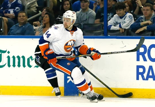 Nov 28, 2015; Tampa, FL, USA; New York Islanders defenseman Calvin de Haan (44) skates during the second period of a hockey game against the Tampa Bay Lightning at Amalie Arena. Mandatory Credit: Reinhold Matay-USA TODAY Sports