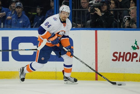 Nov 28, 2015; Tampa, FL, USA; New York Islanders center Mikhail Grabovski (84) skates during the second period of a hockey game against the Tampa Bay Lightning at Amalie Arena. Mandatory Credit: Reinhold Matay-USA TODAY Sports