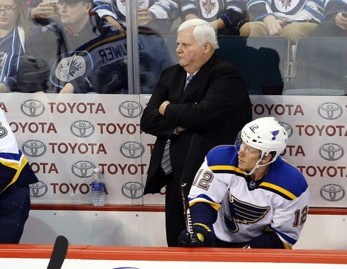 Dec 15, 2015; Winnipeg, Manitoba, CAN; St. Louis Blues head coach Ken Hitchcock reacts during the second period against the Winnipeg Jets  at MTS Centre. Mandatory Credit: Bruce Fedyck-USA TODAY Sports
