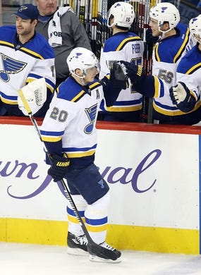 Dec 15, 2015; Winnipeg, Manitoba, CAN;  St. Louis Blues left wing Alexander Steen (20) celebrates his goal with teammates during the second period against the Winnipeg Jets at MTS Centre. Mandatory Credit: Bruce Fedyck-USA TODAY Sports