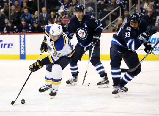 Dec 15, 2015; Winnipeg, Manitoba, CAN;  St. Louis Blues left wing Alexander Steen (20) looks to control the puck during the third period against the Winnipeg Jets at MTS Centre. St. Louis Blues wins 4-3. Mandatory Credit: Bruce Fedyck-USA TODAY Sports