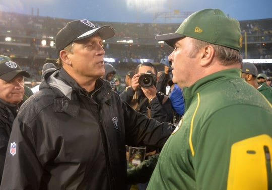 Dec 20, 2015; Oakland, CA, USA; Oakland Raiders head coach Jack Del Rio and Green Bay Packers head coach Mike McCarthy shake hands after an NFL football game at O.co Coliseum. The Packers defeated the Raiders 30-20. Mandatory Credit: Kirby Lee-USA TODAY Sports
