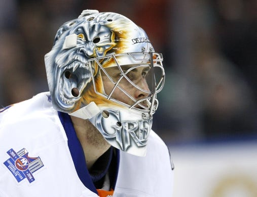Dec 31, 2015; Buffalo, NY, USA; New York Islanders goalie Thomas Greiss (1) during the second period against the Buffalo Sabres at First Niagara Center. Mandatory Credit: Timothy T. Ludwig-USA TODAY Sports
