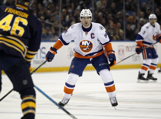 Dec 31, 2015; Buffalo, NY, USA; New York Islanders center John Tavares (91) during the third period against the Buffalo Sabres at First Niagara Center. Islanders beat the Sabres 2-1. Mandatory Credit: Timothy T. Ludwig-USA TODAY Sports