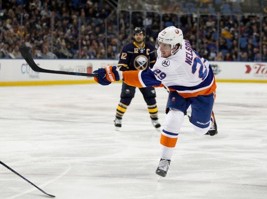 Dec 31, 2015; Buffalo, NY, USA; New York Islanders center Brock Nelson (29) against the Buffalo Sabres at First Niagara Center. Islanders beat the Sabres 2 to 1. Mandatory Credit: Timothy T. Ludwig-USA TODAY Sports