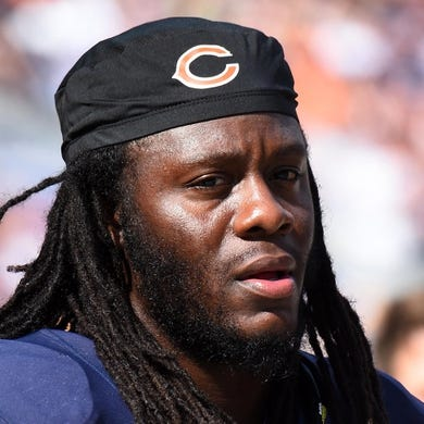 Sep 28, 2014; Chicago, IL, USA; Chicago Bears linebacker Terrell Manning (53) during the second half at Soldier Field. Mandatory Credit: Mike DiNovo-USA TODAY Sports