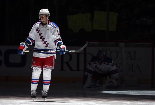 Feb 10, 2016; Pittsburgh, PA, USA; New York Rangers center J.T. Miller (10) on the ice for the national anthem before playing the Pittsburgh Penguins during the first period at the CONSOL Energy Center. Mandatory Credit: Charles LeClaire-USA TODAY Sports