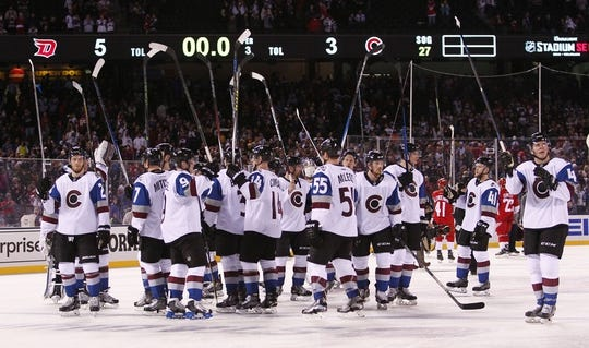 6f56df27e65 Feb 27, 2016; Denver, CO, USA; Colorado Avalanche players salute the