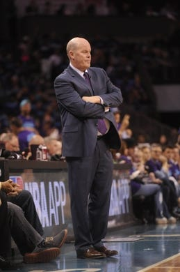 Apr 29, 2016; Charlotte, NC, USA; Charlotte Hornets head coach Steve Clifford during the first half in game six of the first round of the NBA Playoffs against the Miami Heat at Time Warner Cable Arena. Mandatory Credit: Sam Sharpe-USA TODAY Sports