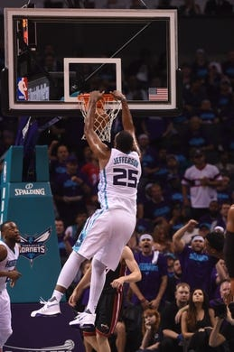 Apr 29, 2016; Charlotte, NC, USA; Charlotte Hornets forward center Al Jefferson (25) moves to the basket and scores during the second half in game six of the first round of the NBA Playoffs against the Miami Heat at Time Warner Cable Arena. Heat win 97-90. Mandatory Credit: Sam Sharpe-USA TODAY Sports