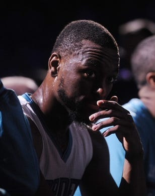 Apr 29, 2016; Charlotte, NC, USA; Charlotte Hornets guard Kemba Walker (15) during the second half in game six of the first round of the NBA Playoffs against the Miami Heat  at Time Warner Cable Arena. Heat win 97-90. Mandatory Credit: Sam Sharpe-USA TODAY Sports