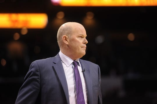 Apr 29, 2016; Charlotte, NC, USA; Charlotte Hornets head coach Steve Clifford during the second half in game six of the first round of the NBA Playoffs against the Miami Heat at Time Warner Cable Arena. Heat win 97-90. Mandatory Credit: Sam Sharpe-USA TODAY Sports