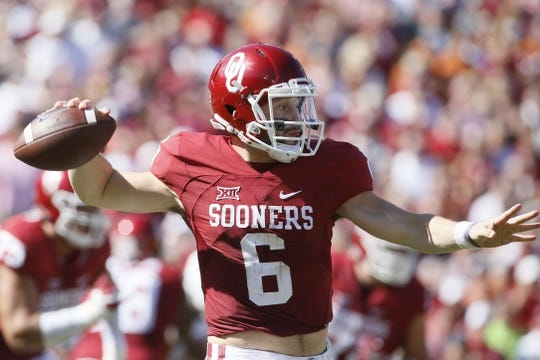 Oct 8, 2016; Dallas, TX, USA; Oklahoma Sooners quarterback Baker Mayfield (6) throws a pass in the first quarter against the Texas Longhorns  at Cotton Bowl. Mandatory Credit: Tim Heitman-USA TODAY Sports