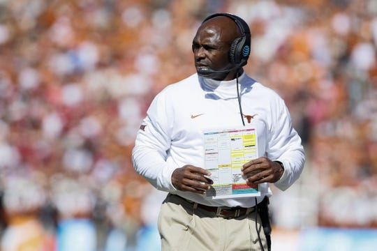 Oct 8, 2016; Dallas, TX, USA;  Texas Longhorns head coach Charlie Strong on the field during the game against the Oklahoma Sooners at Cotton Bowl. Oklahoma won 45-40. Mandatory Credit: Tim Heitman-USA TODAY Sports