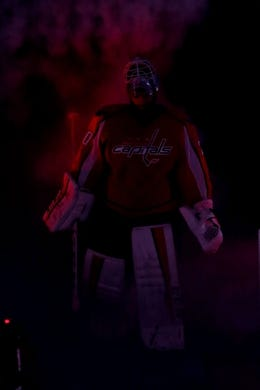 Oct 15, 2016; Washington, DC, USA; Washington Capitals goalie Braden Holtby (70) is introduced prior to the Capitals' game against the New York Islanders at Verizon Center. The Capitals won 2-1. Mandatory Credit: Geoff Burke-USA TODAY Sports