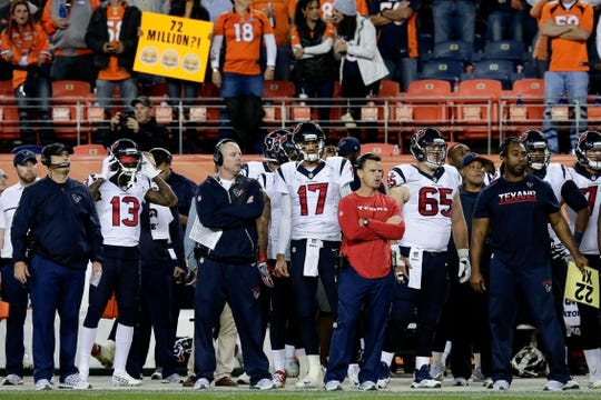 Oct 24, 2016; Denver, CO, USA; Houston Texans quarterback Brock Osweiler (17) looks on from the sidelines in the fourth quarter against the Denver Broncos at Sports Authority Field at Mile High. The Broncos won 27-9. Mandatory Credit: Isaiah J. Downing-USA TODAY Sports