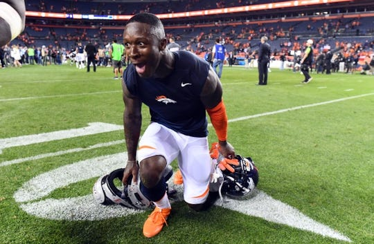 Oct 24, 2016; Denver, CO, USA; Denver Broncos defensive back Will Parks (34) reacts to the win over the Houston Texans in the second half at Sports Authority Field at Mile High. The Broncos defeated the Texans 27-9. Mandatory Credit: Ron Chenoy-USA TODAY Sports