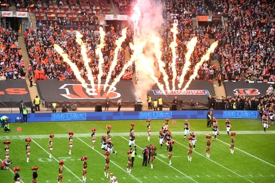 Oct 30, 2016; London, United Kingdom; Cincinnati Bengals players enter the field during game 17 of the NFL International Series against the Washington Redskins at Wembley Stadium. Mandatory Credit: Kirby Lee-USA TODAY Sports