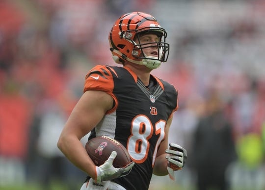 Oct 30, 2016; London, United Kingdom;Cincinnati Bengals tight end Tyler Kroft (81) during game 17 of the NFL International Series against the Washington Redskins at Wembley Stadium. Mandatory Credit: Kirby Lee-USA TODAY Sports