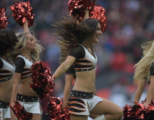 Oct 30, 2016; London, United Kingdom; Cincinnati Bengals cheerleaders perform during game 17 of the NFL International Series against the Washington Redskins at Wembley Stadium. Mandatory Credit: Kirby Lee-USA TODAY Sports