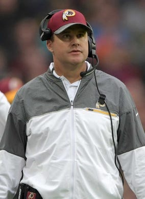 Oct 30, 2016; London, United Kingdom; Washington Redskins coach Jay Gruden reacts during game 17 of the NFL International Series at Wembley Stadium. The Redskins and Bengals tied 27-27. Mandatory Credit: Kirby Lee-USA TODAY Sports