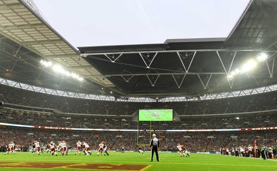 Oct 30, 2016; London, United Kingdom; General view of game 17 of the NFL International Series between the Cincinnati Bengals and the Washington Redskins at Wembley Stadium. The Redskins and Bengals tied 27-27. Mandatory Credit: Kirby Lee-USA TODAY Sports