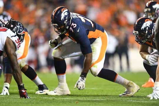 Oct 24, 2016; Denver, CO, USA; Denver Broncos offensive tackle Russell Okung (73) during the second half against the Houston Texans at Sports Authority Field at Mile High. The Broncos defeated the Texans 27-9. Mandatory Credit: Ron Chenoy-USA TODAY Sports