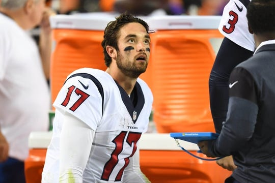 Oct 24, 2016; Denver, CO, USA; Houston Texans quarterback Brock Osweiler (17) reacts on the sideline following a turnover on downs in the second half against the Denver Broncos at Sports Authority Field at Mile High. The Broncos defeated the Texans 27-9. Mandatory Credit: Ron Chenoy-USA TODAY Sports