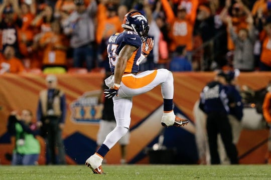 Oct 24, 2016; Denver, CO, USA; Denver Broncos strong safety T.J. Ward (43) reacts after a play in the third quarter against the Houston Texans at Sports Authority Field at Mile High. Mandatory Credit: Isaiah J. Downing-USA TODAY Sports