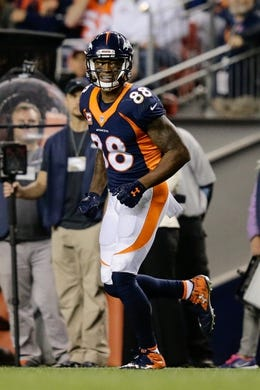Oct 24, 2016; Denver, CO, USA; Denver Broncos wide receiver Demaryius Thomas (88) reacts after a play in the fourth quarter against the Houston Texans at Sports Authority Field at Mile High. Mandatory Credit: Isaiah J. Downing-USA TODAY Sports